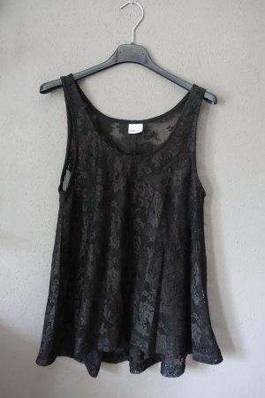 Top aus Spitze, Spitzentop, transparent, schwarz, Gina Tricot, geblümt, weit geschnitten, Trägertop