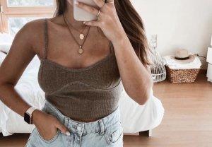 Zara Top bustino grigio-marrone-grigio
