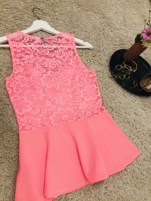H&M Divided Lace Top neon pink polyester