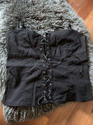 Amisu Corpiño negro-color plata