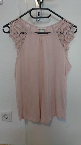 H&M Top di merletto rosa pallido Viscosa