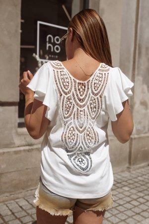 Bastet Top koszulowy w kolorze białej wełny-kremowy