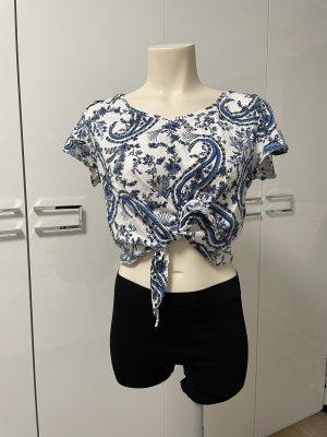 H&M Cropped Shirt white-blue