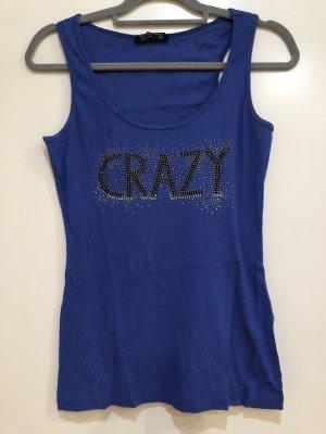 Top blau mit Schrift Glitzer Steine 'crazy', Gr. 36, blind date women
