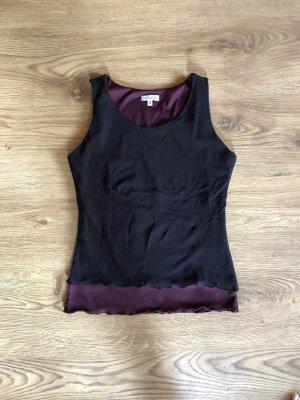 Top Bluse Gr.38 Schwarz weinrot