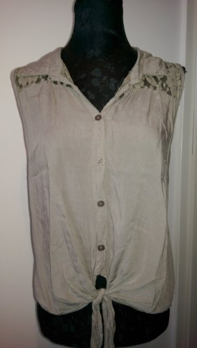 Top Bluse Khaki S Made in Italy