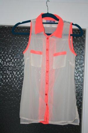 Top Bluse mit Neon Pinken Akzenten