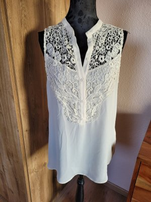 Top Bluse Shirt Spitze creme H&M