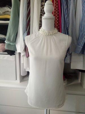Top Bluse Shirt Weiß Perle Strass Kragen Volants Rüschen Business S H&M 36