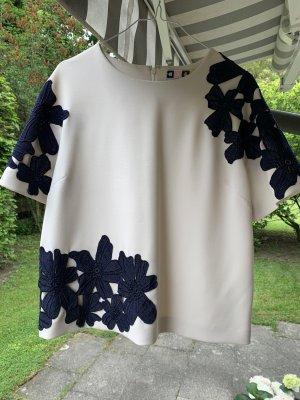 Top / Bluse von MSGM ital. Gr 44 creme mit Blumen