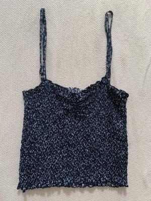 Brandy & Melville Top z cienkimi ramiączkami biały-ciemnoniebieski