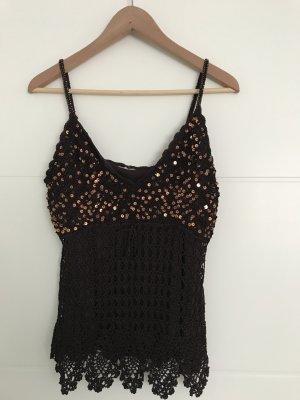 Crochet Top dark brown-gold-colored