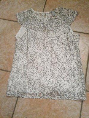 H&M Frill Top white-black