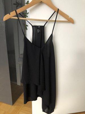H&M Podkoszulek na ramiączkach czarny Poliester
