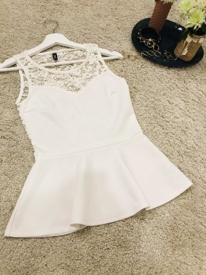 H&M Divided Lace Top white polyester
