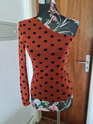 Colourful Rebel Top monospalla nero-arancione scuro