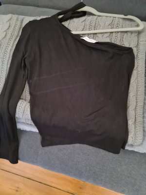 pearl style Haut avec une épaule dénudée noir polyester