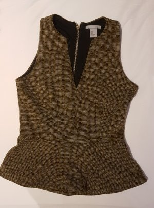 H&M Cut Out Top black-ocher polyester