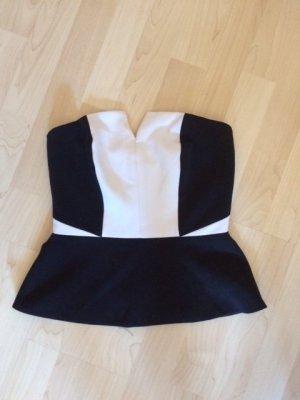 H&M Haut type corsage noir-blanc