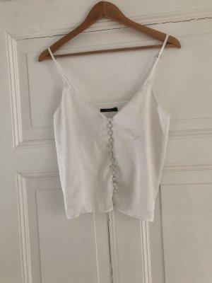 Top in seta bianco sporco-bianco