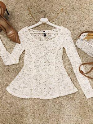 H&M Top z baskinką w kolorze białej wełny