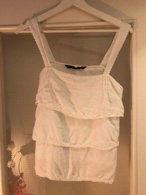 Zara Basic Top con balze bianco