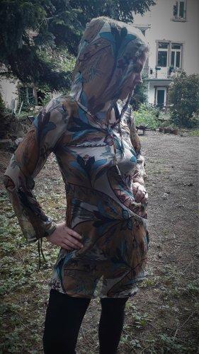 Sukienka boho brązowy-turkusowy Wiskoza