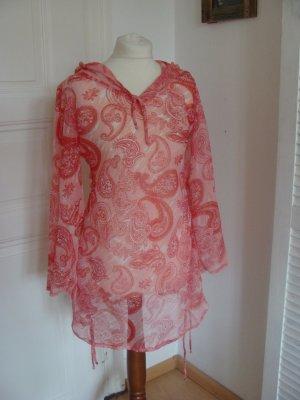 Hooded Dress white-brick red viscose