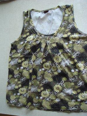 Top Gr. 40 khaki gelb braun schwarz mit Blumen - Pulli Shirt ohne Arm