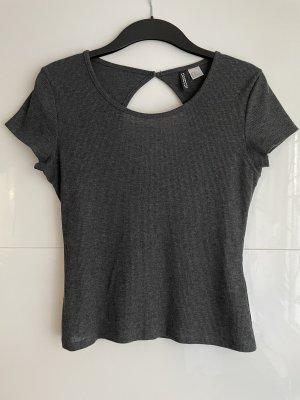 H&M Divided Prążkowana koszulka ciemnoszary