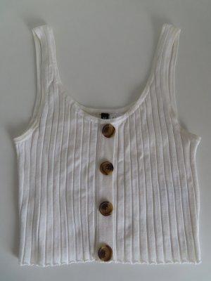 H&M Koronkowy top biały Tkanina z mieszanych włókien