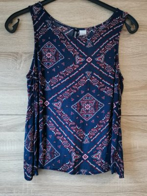 H&M Rugloze top rood-blauw
