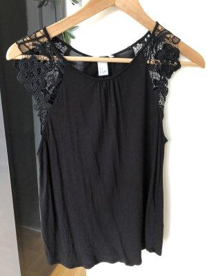 H&M Blouse topje zwart Katoen