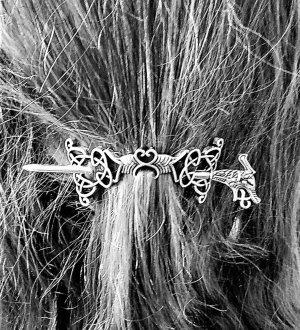 Épingle à cheveux argenté-noir métal