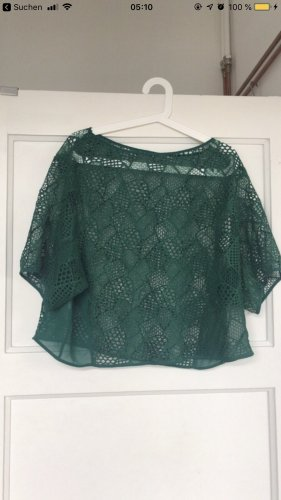 Mango Crochet Shirt forest green-green