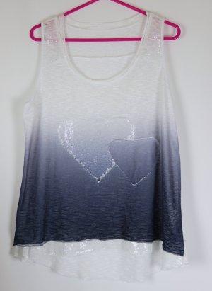 Top Hängerchen NKD Größe 40 42 Blau Weiß Pailletten Herz Motiv Sommer VoKuHiLa  Shirt