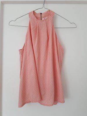Top z dekoltem typu halter jasny różowy-biały Wiskoza