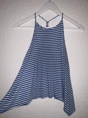 Hollister Top z dekoltem typu halter niebieski-biały