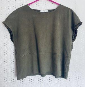 Mango Blouse topje khaki-olijfgroen Polyester