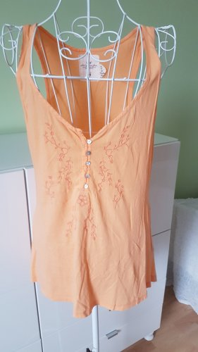 Top in Orange mit Blumenstickerei