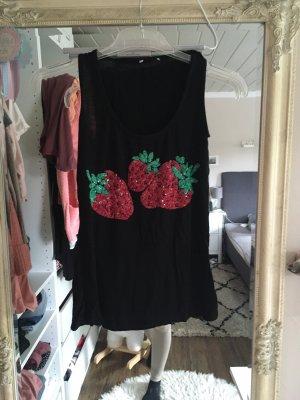 Top in schwarz mit Erdbeer Pailletten Größe XS