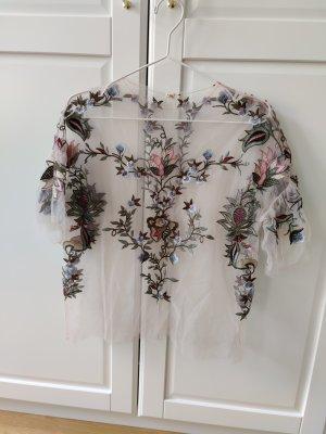 Top in Transparenzoptik mit Blumenstickerei von Zara