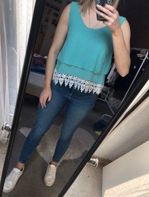 Crochet Top turquoise-white