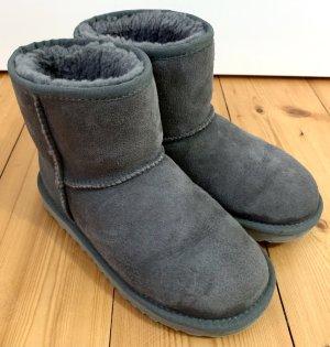 Buty zimowe szary-jasnobeżowy Skóra