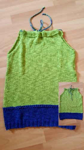 Bid Handmade Top sin hombros azul aciano-verde hierba