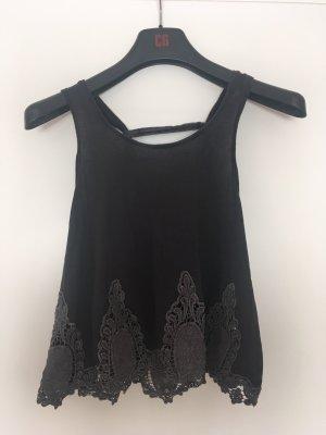 Only Top en maille crochet noir-gris foncé