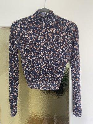 Zara Camisa recortada azul oscuro-beige
