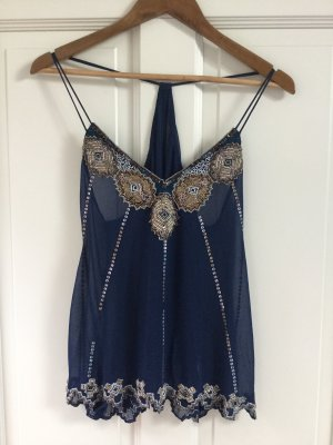 Blouse Top dark blue-gold-colored