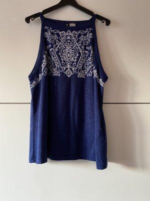 H&M Top o kroju litery A niebieski-biały