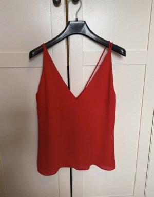 H&M Camisa con cuello V rojo